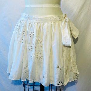 Chloe Silk eyelet skirt.
